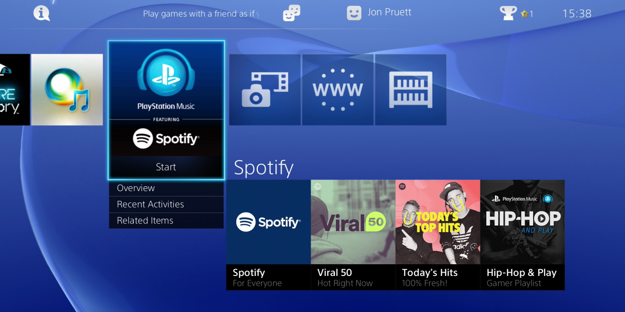 Spotify now on Playstation